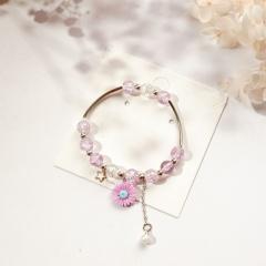 Beaded Daisy Flower Star Pearl Pendant Single Circle Bracelet Pink