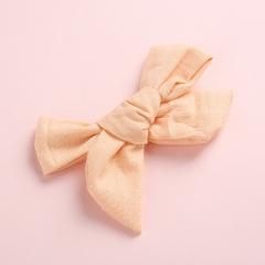 Fashion Pure Color Simple Girl's Bow Hairpin Headwear Wholesale Khaki