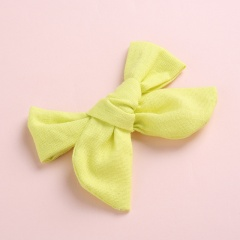 Fashion Pure Color Simple Girl's Bow Hairpin Headwear Wholesale Bright yellow