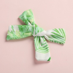 Fashion Multicolor Floral Polka Dot Print Twill Bow Hairpin Green