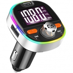 Fast Charging Car Bluetooth Mp3 Player Car Fm Transmitter Colorful Atmosphere Light Silver
