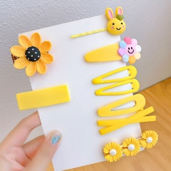 8 piece/set Multicolor Sweet Flower Girls Hairclip Set Wholesale Yellow sunflower