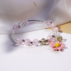 Beaded Daisy Flower Crystal Single Circle Elastic Bracelet Wholesale Pink