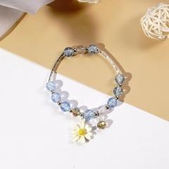 Beaded Daisy Flower Crystal Single Circle Elastic Bracelet Wholesale Beige