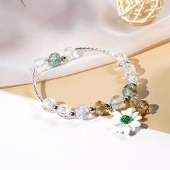 Beaded Daisy Flower Crystal Single Circle Elastic Bracelet Wholesale White
