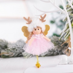 Antlers Sequins Angel Christmas Pendant Christmas Tree Decoration Pink