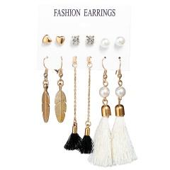 6 pairs/set Bohemia Gold Style Dangle Hoop Earring Set Wholesale White