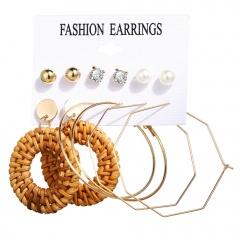 6 pairs/set Bohemia Gold Style Dangle Hoop Earring Set Wholesale Weave