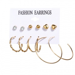 6 Pairs/Set Gold Pearl Dangle Hoop Earring Set Wholesale Gold