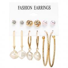 6 Pairs/Set Gold Pearl Dangle Hoop Earring Set Wholesale Gold Pearl