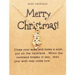 Santa Claus Christmas Series Gold Wishing Paper Card Necklace Santa Claus
