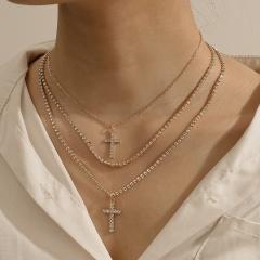 Three Layer Gold Silver Rhinestone Cross Necklace Jewelry Gold