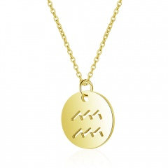 12 Constellation Gold Simple Hollow Clavicle Chain Necklace Jewelry Aquarius