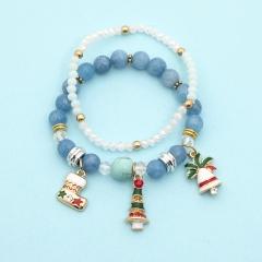 2 Pieces/Set Gemstone Beads Elastic Christmas Dangle Bracelet Set Blue