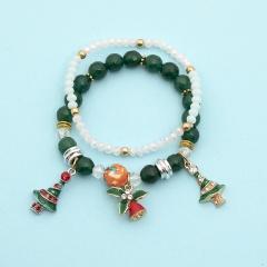 2 Pieces/Set Gemstone Beads Elastic Christmas Dangle Bracelet Set Green