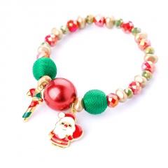 Christmas Series Santa Snowman Candy Beads Bracelet Santa Claus