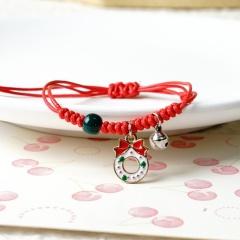 Christmas Jewlery Red Rope Handmade Adjustable Bracelets Wreath