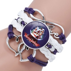 Multilayer Santa Claus Elk Snowman Bracelet Christmas Jewelry Wholesale White & Purple