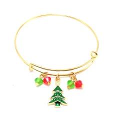Christmas Series Dangle Gold Adjustable Bangles Wholesale Tree