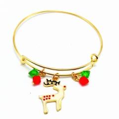 Christmas Series Dangle Gold Adjustable Bangles Wholesale Fawn