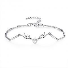 Silver Brass with CZ Stone Chain Bracelet for Women Jewelry White