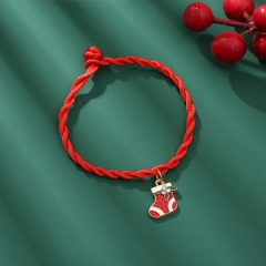 Red Rope Christmas Series Dangle Adjustable Bracelet Wholesale Boots