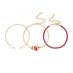 3 Pieces/Set Red Rope Gold Chain Bracelet Set Wholesale Santa Claus