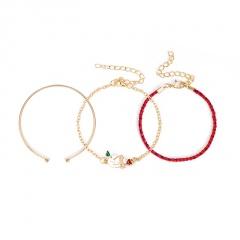 3 Pieces/Set Red Rope Gold Chain Bracelet Set Wholesale Snowman