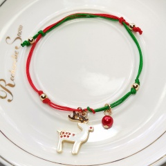 Green and Red Rope Christmas Series Dangle Adjustable Bracelets Fawn