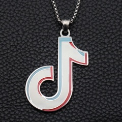 Gold Silver Stainless Steel Musical Pendant Necklace Wholesale White