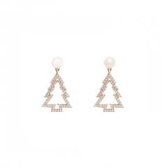 S925 Needle Christmas Series Elk Stud Earrings Jewelry Wholesale Tree-Gold