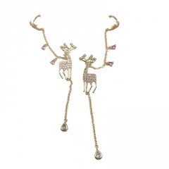 S925 Needle Christmas Series Elk Stud Earrings Jewelry Wholesale Fawn-Gold