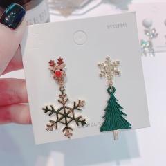 Full Diamond Christmas Elk Snowflake Stud Earrings Jewelry Snow Tree
