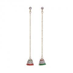 S925 Silver Needle Christmas Snowflake Asymmetrical Earrings Hat