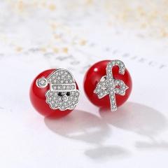 Red Christmas Snowflake Elk Stud Earrings Jewelry Wholesale Santa Claus Candy