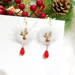 Santa Claus Deer White Pompoms Red Crystal Christmas Earrings Elk
