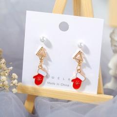 3 Pairs/Card Christmas Series Pearl Stud Earrings Jewelry Wholesale Gloves
