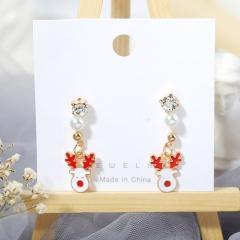 3 Pairs/Card Christmas Series Pearl Stud Earrings Jewelry Wholesale Elk-White