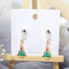 3 Pairs/Card Christmas Series Pearl Stud Earrings Jewelry Wholesale Tree
