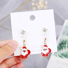 3 Pairs/Card Christmas Series Pearl Stud Earrings Jewelry Wholesale Santa Claus