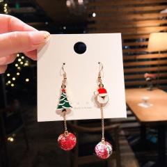 Christmas Series Green Ball Snowman Long Stud Earrings Tree & Santa Claus