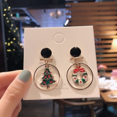 Christmas Circle White Elk Dangle Stud Earrings Jewelry Wholesale Tree & Wreath