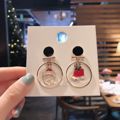 Christmas Circle White Elk Dangle Stud Earrings Jewelry Wholesale Santa Claus & Bells