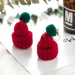 Hand-woven Christmas Woolen Hat Dangle Earrings Red