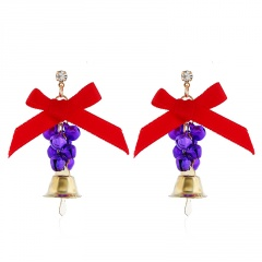 Christmas Series Bow Bell Earrings Jewelry Wholesale Purple