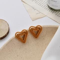 Orange Series Simple Bow Suede Stud Earrings Wholesale Heart-A