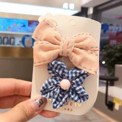 2 Pieces/Set Sweet Bowknot Flower Hair Clip Headwear Wholesale Beige