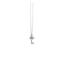 Planet Star Diamond Key Pendant Chain Charm Necklace Silver-White