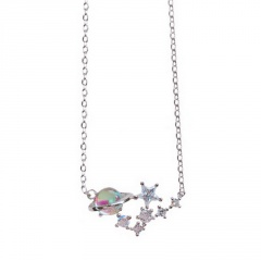 Earth Star Crystal Diamond Pendant Chain Charm Necklace Jewelry Silver-Star