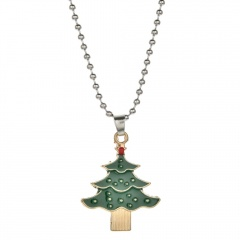 Christmas Series Cute Pendant Beads Chain Necklace Jewelry Christmas Tree